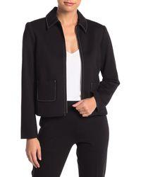 T Tahari Zip Contrast Topstitch Jacket (petite) - Black