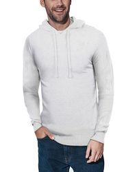 Xray Jeans Ribbed Pullover Hoodie Sweater - White