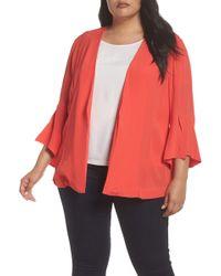Sejour - Ruffle Sleeve Soft Crepe Jacket (plus Size) - Lyst