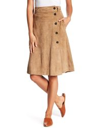 FRAME - Button Front Suede Leather Skirt - Lyst