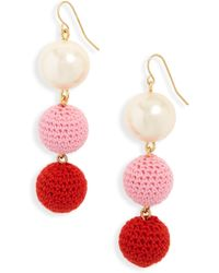 J.Crew - J.crew Crochet Ball And Imitation Pearl Drop Earrings - Lyst