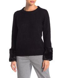 Catherine Malandrino Faux Fur Cuff Pullover Sweater - Black