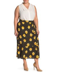 Madewell Side Button Floral Midi Skirt - Black