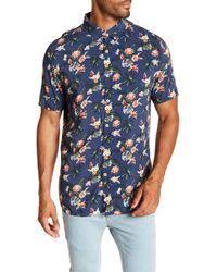 Barney Cools Holiday Short Sleeve Hawaiian Print Regular Fit Shirt - Blue