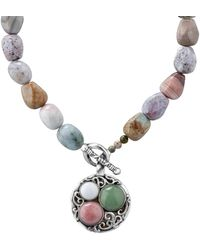 Relios Sterling Silver Mixed Semi-precious Stone Pendant Beaded Necklace - Metallic