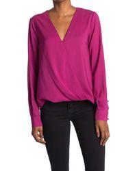 Parker Long Sleeve Wrap Blouse - Pink
