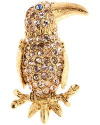 Oscar de la Renta - Swarovski Crystal Embellished Parrot Brooch - Lyst