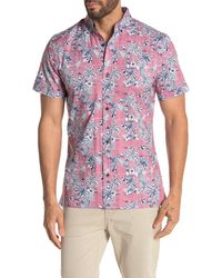 Wallin & Bros. Short Sleeve Print Stretch Regular Fit Woven Shirt - Multicolour