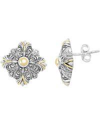 Effy - 18k Yellow Gold & Sterling Silver Diamond Stud Earrings - 0.12 Ctw - Lyst