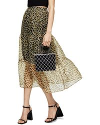 TOPSHOP Leopard Print Organza Tiered Midi Skirt - Multicolor