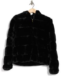 BCBGMAXAZRIA Missy Grooved Faux Rabbit Fur Jacket - Black