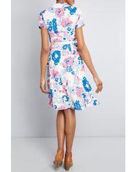 ModCloth Notch Collar Shirt Dress - Blue