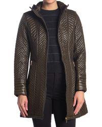 Via Spiga Chevron Faux Fur Trim Puffer Jacket - Green