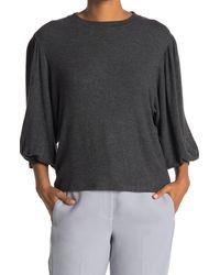 Magaschoni Blouson Long Sleeve Top - Gray