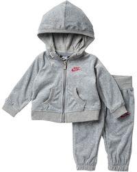 Nike Velour Hoodie & Sweatpants Set (baby Girls) - Gray