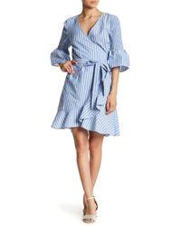 Eci - Striped Bell Sleeve Faux Wrap Dress - Lyst