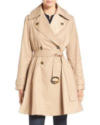 Cece by Cynthia Steffe - Sarah Belted Skirted Double Breasted Trench - Lyst