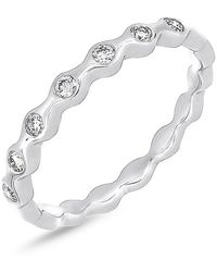Bony Levy - 18k White Gold Bezel Set Diamond Scalloped Ring - 0.16 Ctw - Lyst
