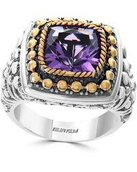 Effy Sterling Silver & 18k Yellow Gold Amethyst Ring - Purple