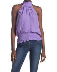 Ramy Brook Rayna Smocked Blouse - Purple