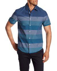 Original Penguin - Engineered Stripe Short Sleeve Slim Fit Shirt - Lyst