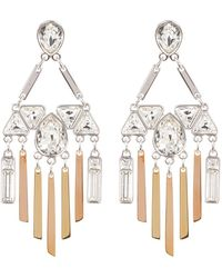 Swarovski - Two-tone Bezel Set Crystal & Fringe Chandelier Earrings - Lyst