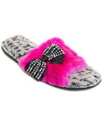 Pretty You London - Lulu Faux Fur Sandal Slipper - Lyst