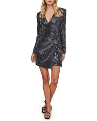 Astr Sequin Long Sleeve Minidress - Black