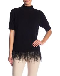 In Cashmere - Ostrich Feather Hem Mock Neck Sweater - Lyst
