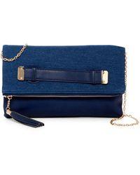 Urban Expressions Slate Vegan Leather Clutch - Blue