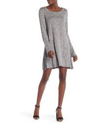 Love, Fire Bell Sleeve Solid Knit Dress - Gray