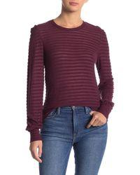 Lucky Brand Stripe Chenille Blouse - Purple