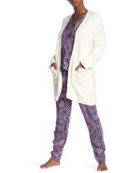 Josie Fuzzy Open Front Cardigan - Multicolor