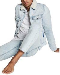Cotton On Borg Faux Shearling Denim Jacket - Blue