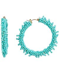 Suzanna Dai - Beaded Accent 50mm Hoop Earrings - Lyst