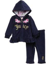 Juicy Couture - Navy Velour Floral Hoodie & Pants Set (baby Girls 3-9m) - Lyst