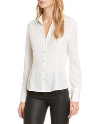 L'Agence Priscilla Stretch Silk Blouse - White