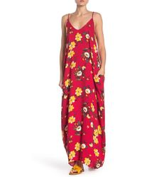 Double V Tropical Floral Print Gauze Maxi Dress - Red