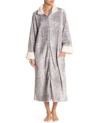 Carole Hochman Faux Shearling Trim Print Robe - Gray