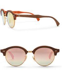 Ray-Ban - Phantos Club 48mm Round Wood Sunglasses - Lyst