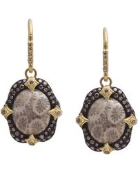 Armenta - Old World Blackened Sterling Silver & 18k Yellow Gold Bezel Set Fossilized Coral & Pave Diamond Drop Earrings - Lyst