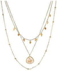 Panacea Peach Moonstone & Crystal Layered Necklace - Metallic