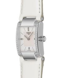 Tissot Women's T-2 Mother Of Pearl Diamond Accented Leather Strap Watch- 0.16 Ctw - Multicolor