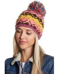 Cara - Jumper Hat With Multicolored Fringe Pompom - Lyst