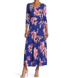 West Kei Knit Wrap Maxi Dress - Blue