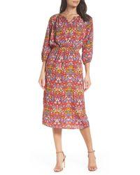 Fraiche By J Flower Blouson Dress - Red