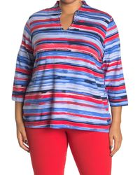 Ruby Rd. Watercolor Stripe Embellished Blouse - Blue