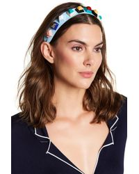 Cara - Faux Leather Geometric Beaded Headband - Lyst