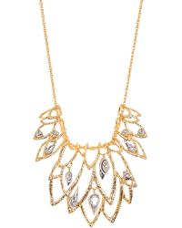 Alexis Bittar Yellow Gold Plated Crystal Leaf Filigree Pendant Necklace In 18k Gold W/rhodium At Nordstrom Rack - Metallic