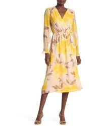Halogen Floral Surplice Tie Waist Midi Dress (regular & Petite) - Yellow